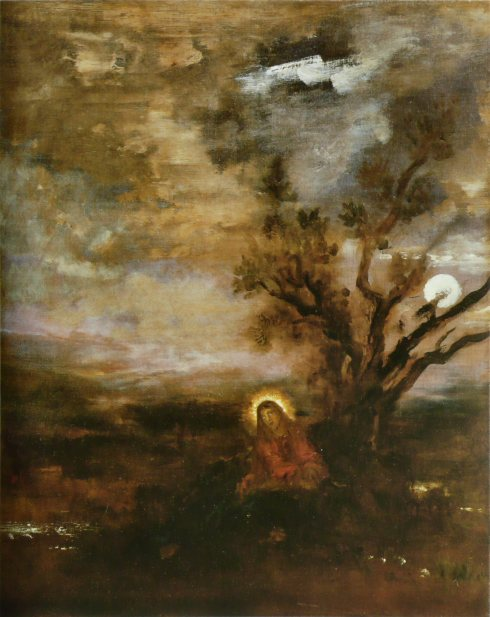 """""""Le Christ au jardín del oliviers"""" - Gustave Moreau (ca. 1880)"""