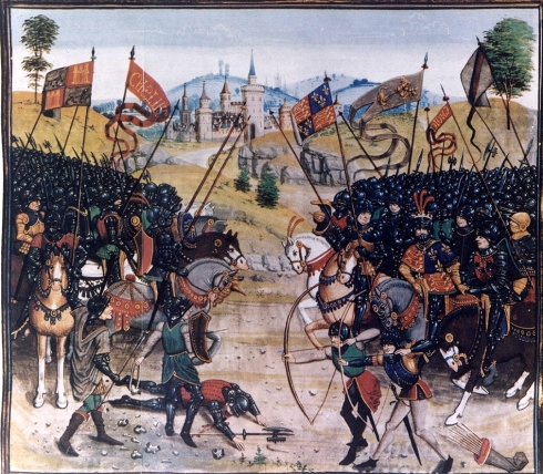 Batalla de Nájera, según miniatura de la Crónica de Jean Froissart, siglo XV, (Biblioteca Nacional de Francia)